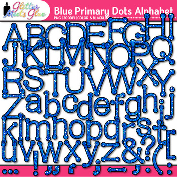 Blue Primary Dots Alphabet Clip Art {Great for Classroom D