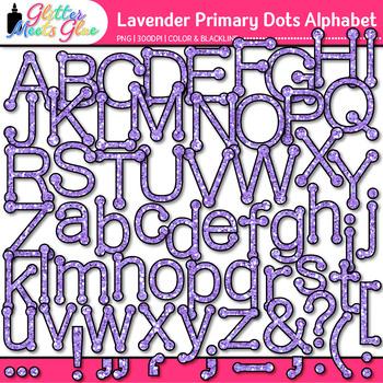 Lavender Primary Dots Alphabet Clip Art {Great for Classro
