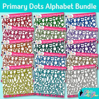 Primary Dots Alphabet Clip Art Bundle {Great for Classroom