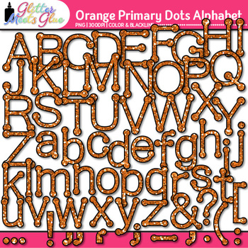 Orange Primary Dots Alphabet Clip Art {Great for Classroom