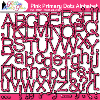 Pink Primary Dots Alphabet Clip Art {Great for Classroom D