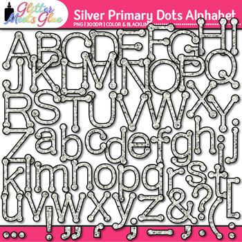 Silver Primary Dots Alphabet Clip Art {Great for Classroom