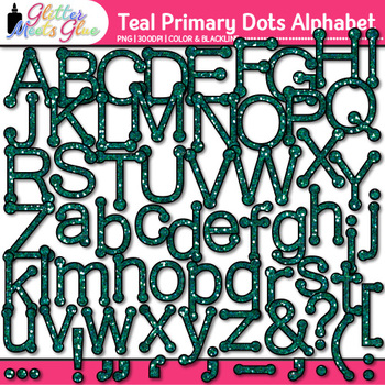 Teal Primary Dots Alphabet Clip Art {Great for Classroom D