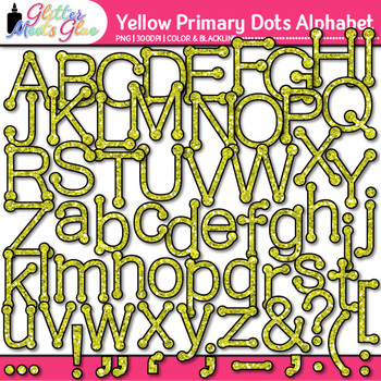 Yellow Primary Dots Alphabet Clip Art {Great for Classroom