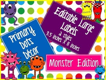 Primary Dots Monster Editable Large Labels
