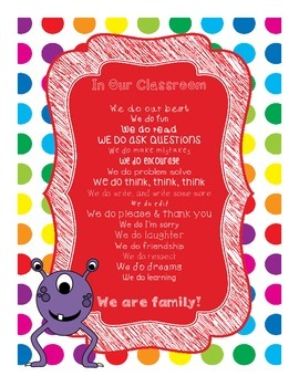 Primary Dots Monster In Our Classroom, We Do Poster
