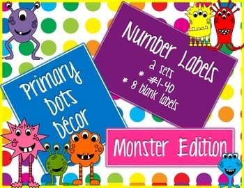 Primary Dots Monster Number Labels