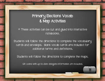 Primary Elections Vocab & Map Activities