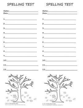 Primary Fall Spelling Test Template 2 per page 12 words Au