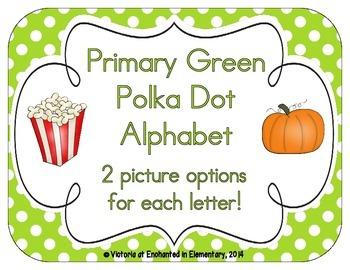 Primary Green Polka Dot Alphabet Cards