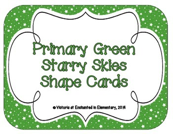 Primary Green Starry Skies Shape Cards