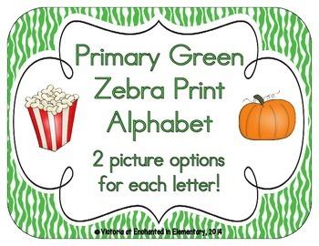 Primary Green Zebra Print Alphabet Cards