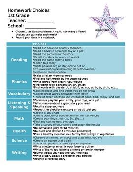 Primary Homework Choice Board