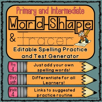 Editable Spelling Practice and Test Generator-Primary and