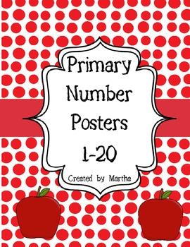 Primary Number Posters 1-20 - Red Polka Dots and Apples