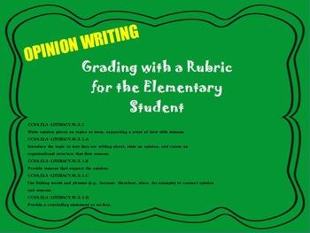 Primary Opinion Rubric & Writing Samples Flipchart ~ ELA 2