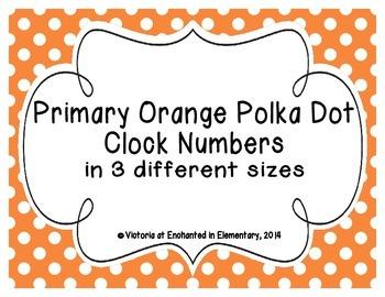 Primary Orange Polka Dot Clock Numbers