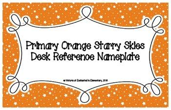 Primary Orange Starry Skies Desk Reference Nameplates