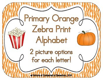 Primary Orange Zebra Print Alphabet Cards
