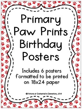 Primary Paw Prints Birthday Posters