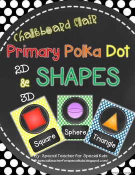 Chalkboard and Primary Polka Dots --SHAPE Posters