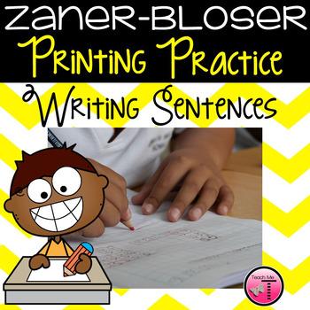 Zaner-Bloser Primary Printing Practice ~ Sentence Writing