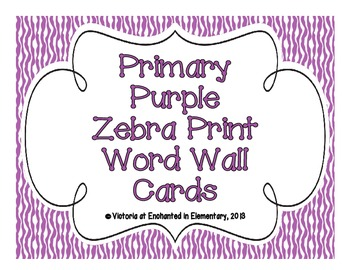 Primary Purple Zebra Print Word Wall Cards