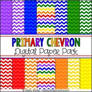 Primary Rainbow Chevron Digital Paper Pack