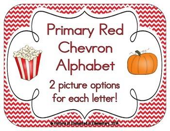 Primary Red Chevron Alphabet Cards