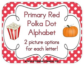 Primary Red Polka Dot Alphabet Cards