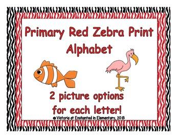 Primary Red Zebra Print Alphabet Cards