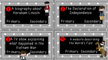 Primary & Secondary Sources Task Cards