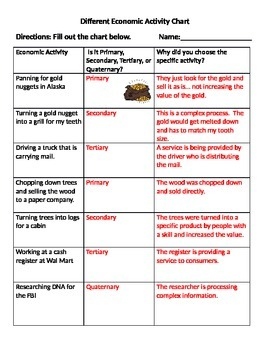 Primary, Secondary, Tertiary, Quaternary Activity Chart AN