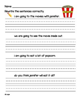 Primary Sentence Editing 51 Pages: Set One