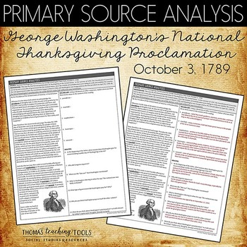 Washington's Thanksgiving Proclamation Primary Source Analysis
