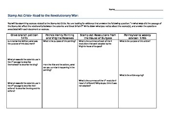 Primary Source Documents- Causes of the American Revolution