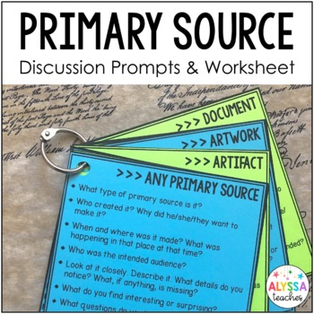 Primary Source Question Cards & Worksheet