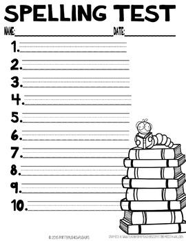 Primary Spelling Test 10 Words
