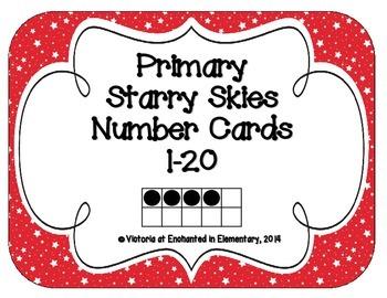 Primary Starry Skies Number Cards 1-20