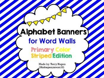 Primary Stripes Alphabet Banner
