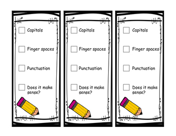 Primary Writing Checklist Bookmarks