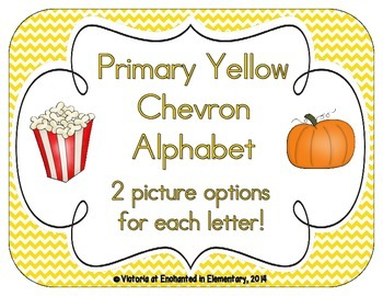 Primary Yellow Chevron Alphabet Cards