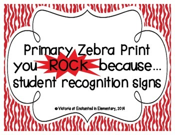 """Primary Zebra Print """"you ROCK because..."""" Student Recognit"""