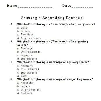 Primary and Secondary Sources Quiz