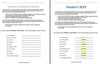 primary and secondary sources worksheet - Termolak
