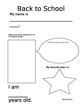 Primary/ESL Back to School page