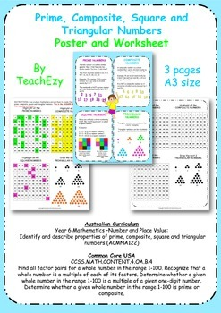 Prime, Composite, Square and Triangular Numbers Poster and