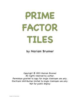 Prime Factor Tiles for CCPS Math 6 Number Sense