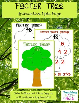 Prime Factor Tree Interactive Notebook Page