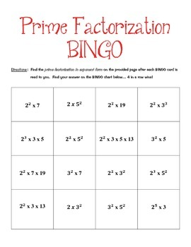 Prime Factorization BINGO
